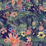 Seamless hand drawn watercolor patten with panther, leaves, flowers, feathers. - 213053716