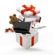 Gift box with ribbon 3d-illustration
