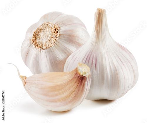 Leinwanddruck Bild Garlic Isolated on white