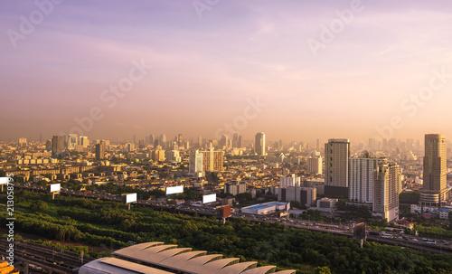 Foto Murales urban morning cityscape building on sun rise skyline
