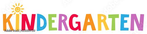 Kindergarten - Fröhlich bunte Buchstaben mit Sonne als i Punkt, horizontaler Banner