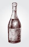 Bottle of sparkling wine. Ink hand drawn Vector illustration. Drink element for menu design. - 213060127
