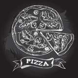 Sliced pizza with Ruccola and champignons. Italian cuisine. Ink hand drawn Vector illustration. Top view. Food element for menu design. - 213060182