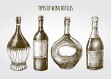 Set of hand drawn different types of wine bottles. Ink hand drawn Vector illustration. design element for a wine shop. - 213060302