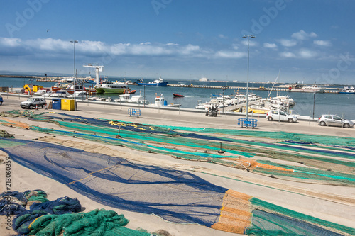 fishing nets drying at the port of Roses in Catalonia Spain