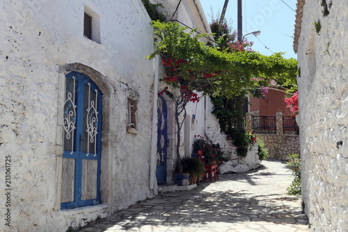 Cityscape of traditional mountain village Afionas at Corfu Island (Greece)