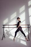 Young beautiful pregnant ballerina is posing in studio - 213071921