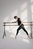 Young beautiful pregnant ballerina is posing in studio - 213071956