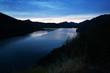 mountains reservoir  in summer evening