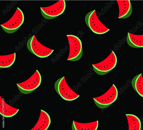 Watermelon pattern on the black background. Vector illustration  - 213075357