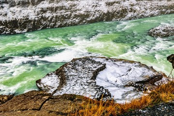 Close up of colourful water at Gullfoss waterfall, Iceland