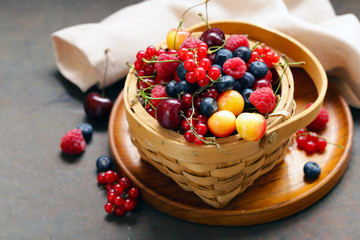 ripe organic mix berries rustic still life