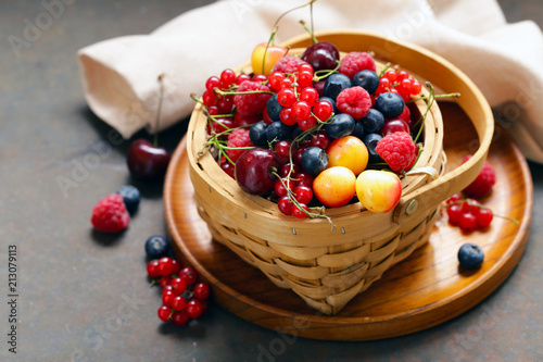 ripe organic mix berries rustic still life - 213079113