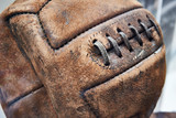 Old leather soccer ball - 213084158