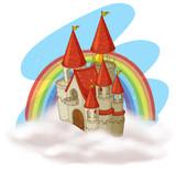 A Fairytale Castle and Rainbow - 213087117