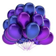 colorful party balloons bunch purple blue. birthday, carnival, celebrate decoration. helium balloon bunch glossy. invitation, greeting card design element. 3d illustration