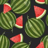 Watercolor watermelon vector pattern - 213094735