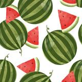 Watercolor watermelon vector pattern - 213094774