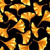 Seamless pattern with ginkgo biloba leaves.