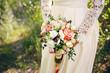White-orange wedding bouquet - 213095731