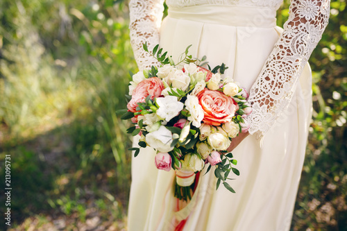 Fototapeta White-orange wedding bouquet