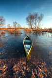 Early spring landscape with wooden boat - 213096198