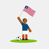 Liberia soccer player in kit with flag and ball - 213097342