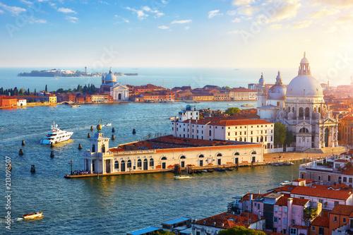 Venice Italy. Top view at Cathedral of Santa Maria della Salute - 213098507