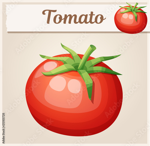 Whole tomato vegetable. Cartoon vector icon. Series of food and drink and ingredients for cooking - 213103728