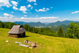 Shelter cabin hut with view to valley, Velka Fatra, Western Carpathians, Slovakia - 213108196