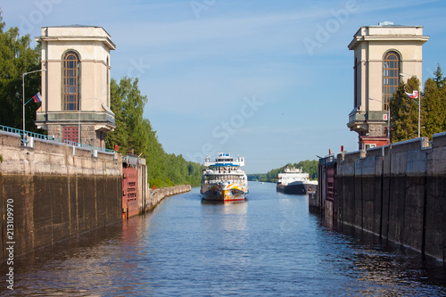 Passenger ship in Gateway Moscow Canal (Moscow-Volga Canal)