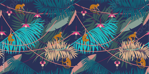 Fototapeta Seamless tropical pattern. Pattern with tropical plants and animals in cartoon style.