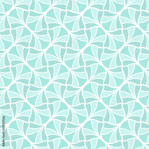 Vector Blue Art Deco Style Seamless Pattern. Abstract Ornament Background.
