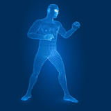 digital man figure in fight guard pose 3d wireframe style vector illustration - 213133501