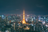 Japan cityscape at dusk. Landscape of Tokyo business building around Tokyo tower. Modern high building in business district area in Japan.. - 213134120