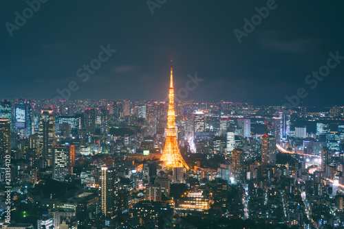 Canvas Tokio Japan cityscape at dusk. Landscape of Tokyo business building around Tokyo tower. Modern high building in business district area in Japan..