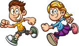 Cute cartoon running boy and girl. Vector clip art illustration with simple gradients. Each on a separate layer.
