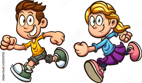 Cute cartoon running boy and girl. Vector clip art illustration with simple gradients. Each on a separate layer.  - 213134702