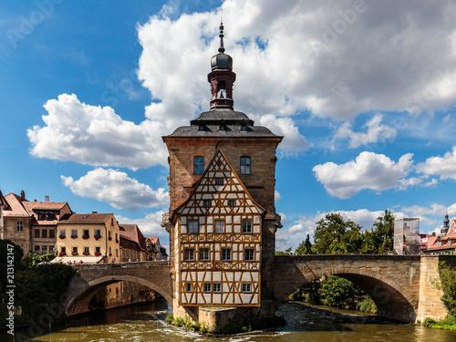 Leinwanddruck Bild romantische bayerische Stadt Bamberg in Oberfranken mit romantischen Häusern