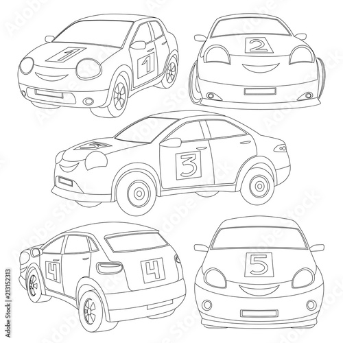 Beautiful coloring book for children with a set of cars, vehicles on a white background.