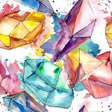 Colorful diamond rock jewelry mineral. Seamless background pattern. Fabric wallpaper print texture. Geometric quartz polygon crystal stone mosaic shape amethyst gem. - 213157700