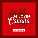 happy canada day card love firts july leave maple background vector illustration - 213163342