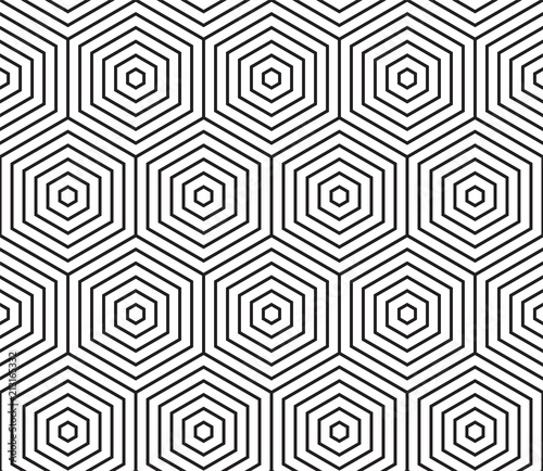 Abstract geometric pattern vector background of seamless hexagon mosaic grid of honeycomb wireframe pattern - 213165332