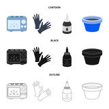 Rubber gloves, ink and other equipment. Tattoo set collection icons in cartoon,black,outline style vector symbol stock illustration web. - 213177331