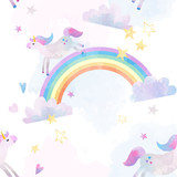 Watercolor unicorn vector pattern - 213180712