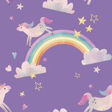 Watercolor unicorn vector pattern - 213180720