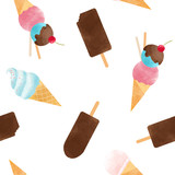 Watercolor ice cream vector pattern - 213180733