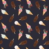 Watercolor ice cream vector pattern - 213180759