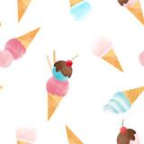 Watercolor ice cream vector pattern - 213180763