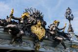 Detail photo from iconic Alexander III bridge the most beautiful bridge of Paris, France